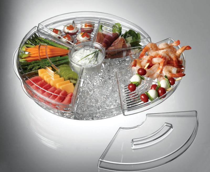 Appetizers On Ice Revolving Tray Lidded Bowls Trays