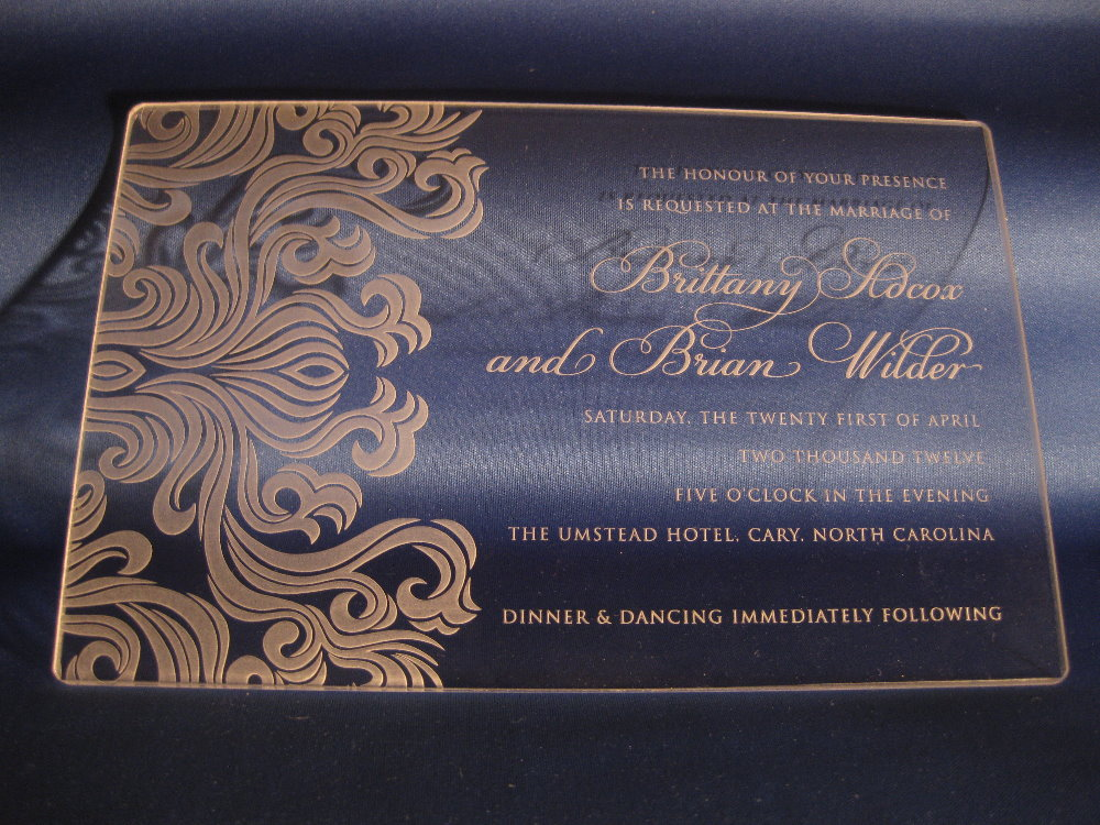 Laser Engraved Lucite Invitations